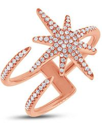 Anne Sisteron - 14kt Rose Gold Diamond Star Wrap Ring - Lyst