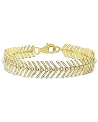 Anne Sisteron - 14kt Yellow Gold Diamond Feather Bracelet - Lyst