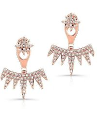Anne Sisteron - 14kt Rose Gold Diamond Spiked Tiara Floating Earrings - Lyst