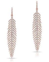 Anne Sisteron - 14kt Rose And White Gold Diamond Feather Earrings - Lyst
