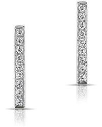 Anne Sisteron - 14kt White Gold Diamond Bar Stud Earrings - Lyst