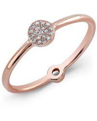 Anne Sisteron - 14kt Rose Gold Diamond Mini Disc Ring - Lyst