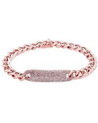 Anne Sisteron - 14kt Rose Gold Diamond Luxe Id Bracelet - Lyst