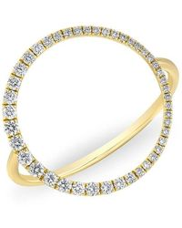 Anne Sisteron - 14kt Yellow Gold Diamond Luxe Open Circle Ring - Lyst