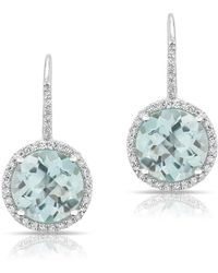 Anne Sisteron   14kt White Gold Blue Topaz Diamond Wireback Earrings   Lyst