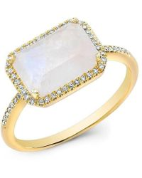 Anne Sisteron - 14kt Yellow Gold Moonstone Diamond Chic Ring - Lyst