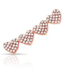 Anne Sisteron - 14kt Rose Gold Diamond Row Of Hearts Climber - Lyst
