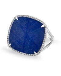 Anne Sisteron 14kt White Gold Diamond Blue Sapphire Laguna Triplet Cushion Cut Cocktail Ring