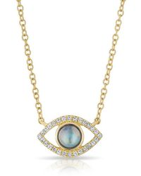 Anne Sisteron - 14kt Yellow Gold Diamond Open Moonstone Evil Eye Sukie Necklace - Lyst