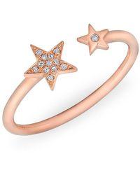 Anne Sisteron - 14kt Rose Gold Diamond Open Stars Ring - Lyst