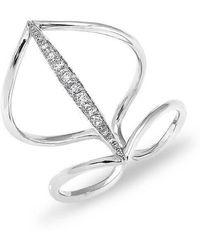 Anne Sisteron - 14kt White Gold Petal Diamond H Ring - Lyst