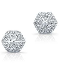 Anne Sisteron - 14kt White Gold Diamond Olympia Studs - Lyst