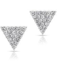 Anne Sisteron | 14kt White Gold Diamond Small Triangle Emma Stud Earrings | Lyst
