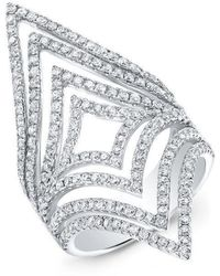 Anne Sisteron - 14kt White Gold Diamond Chevron Cutout Ring - Lyst