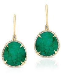 Anne Sisteron - 14kt Yellow Gold Emerald Diamond Luxe Earrings - Lyst