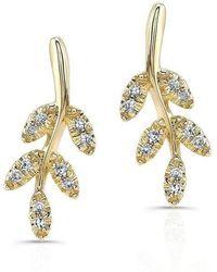 Anne Sisteron - 14kt Yellow Gold Diamond Ivy Stud Earrings - Lyst