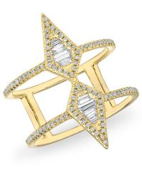 Anne Sisteron - 14kt Yellow Gold Baguette Diamond Double Spear Ring - Lyst