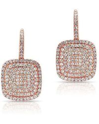 Anne Sisteron - 14kt Rose Gold Diamond Cushion Earrings - Lyst