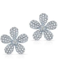 Anne Sisteron - 14kt White Gold Diamond Puffy Daisy Flower Stud Earrings - Lyst