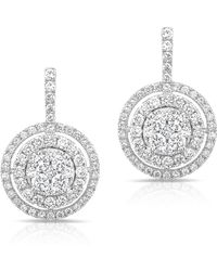 Anne Sisteron - 14kt White Gold Pave Diamond Double Halo Wireback Earrings - Lyst