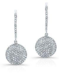 Anne Sisteron - 14kt White Gold All Diamond Disc Earrings - Lyst