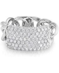 Anne Sisteron | 14kt White Gold Diamond Luxe Id Link Ring | Lyst