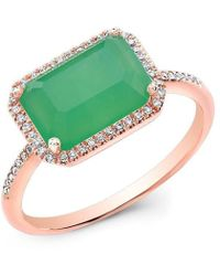 Anne Sisteron - 14kt Rose Gold Chrysoprase Diamond Chic Ring - Lyst