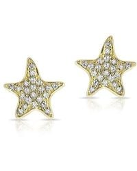 Anne Sisteron - 14kt Yellow Gold Diamond Starfish Stud Earrings - Lyst
