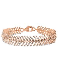 Anne Sisteron - 14kt Rose Gold Diamond Feather Bracelet - Lyst