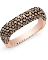 Anne Sisteron - 14kt Rose Gold Champagne Diamond Square Ring - Lyst
