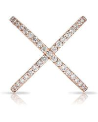 Anne Sisteron - 18kt Rose Gold Luxe Diamond X Ring - Lyst