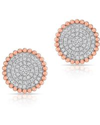 Anne Sisteron - 14kt Rose Gold Diamond Large Scalloped Disc Stud Earrings - Lyst