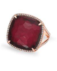 Anne Sisteron - 14kt Rose Gold Diamond Pyrite Laguna Triplet Cushion Cut Cocktail Ring - Lyst