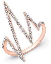 Anne Sisteron - 14kt Rose Gold Diamond Heartbeat Ring - Lyst