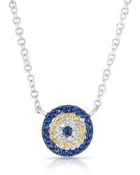 Anne Sisteron - 14kt White Gold Diamond And Sapphire Mini Disc Necklace - Lyst