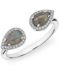 Anne Sisteron - 14kt White Gold Labradorite Diamond Throne Ring - Lyst
