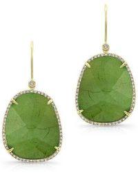 Anne Sisteron - 14kt Yellow Gold Green Tourmaline Diamond Earrings - Lyst