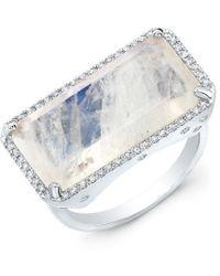 Anne Sisteron - 14kt White Gold Diamond Base Moonstone Ring - Lyst