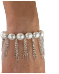 Anne Sisteron - White Pearl Bracelet With Sterling Silver Fringe Chain - Lyst