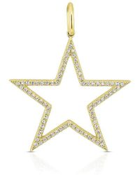 Anne Sisteron - 14kt Yellow Gold Diamond Large Open Star Charm Pendant - Lyst