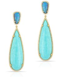 Anne Sisteron - 14kt Yellow Gold Turquoise And Opal Diamond Petal Earrings - Lyst