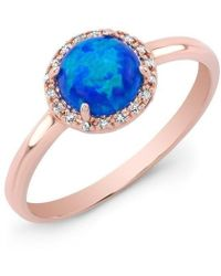 Anne Sisteron | 14kt Rose Gold Opal Diamond Solitaire Ring | Lyst