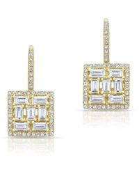 Anne Sisteron - 14kt Yellow Gold Baguette Diamond Square Labrynthe Earrings - Lyst