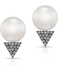 Anne Sisteron - 14kt White Gold Oxidized Pearl Diamond Triangle Stud Earrings - Lyst