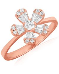 Anne Sisteron - 14kt Rose Gold Baguette Diamond Daisy Ring - Lyst