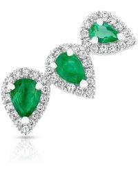 Anne Sisteron - 14kt White Gold Diamond Emerald Valis Ear Climber - Lyst