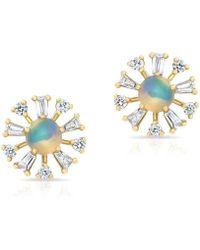Anne Sisteron - 14kt Yellow Gold Opal And Baguette Diamond Havana Earrings - Lyst