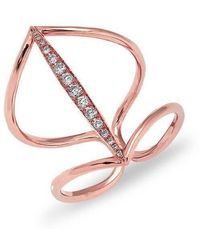 Anne Sisteron - 14kt Rose Gold Petal Diamond H Ring - Lyst
