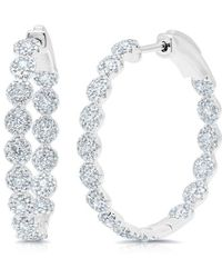 "Anne Sisteron - 14kt White Gold Diamond Ellie 1.15"" Hoops - Lyst"