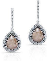 Anne Sisteron - 14kt White Gold Pear Shape Raw Diamond Double Halo Earrings - Lyst